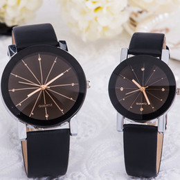 Wholesale Round Spots Mm - Hot Men Women's Simple Casual Style PU Leather Watchband Round Dial Spot Diamond Couples Watch Wrist lover Watch