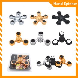 Wholesale Blister Hands - 2017 Best Blister package gift high quality ABS plating titanium spinner hand fidget toy triangle 5 blades gold silver black