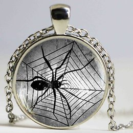 Wholesale Jewelry Web - Steampunk Spider Necklace Gothic Spider Web Pendant Glass Cabochon Jewelry Gift for Boyfriend