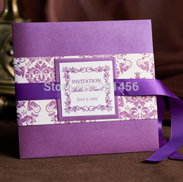 free engagement invitation cards Coupons - Wholesale- Custom Handmade Wedding Invitations Purple Wedding Cards For Bridal Shower Engagement Invitations With Ribbon Free Envelope