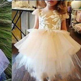 Wholesale Communion Cape - 2017 Pink Puffy Tulle Flower Girls Dresses Cape Sleeve Jewel Neck Lace applique Kids Party Birthday Gowns Tutu Dresses Custom Made
