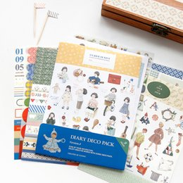 Wholesale Deco Labels - Wholesale- 9 Sheets New Korea Creative Cute Diary Deco Pack Pvc Diary Sticker Diy Multifunction Note Decoration Label Gift Diary Deco Pack