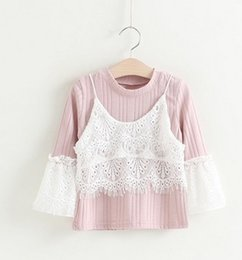 Wholesale Design Basic Shirt - 2017 New Spring Children Girls Lace Patched Long Sleeve Shirts Sweet Girls Cotton Unique Design Basic Shirts Tops Wear B4473