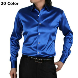 Wholesale Men Wedding Dress Shirts - Wholesale- long sleeve silk men casual shirt thin plus size men wedding dress shirts soft casual loose shirt men
