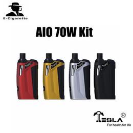 Wholesale One E Cigarette - 100% Authentic Tesla AIO 70W Kit Powered By One 18650 Battery E Cigarette Starter Kit VS Wismec Predator 228W