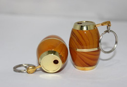 Wholesale Wine Gas - New Arrival Keychain drum Gas wine bucket Barrel shaped Butane Cigarette Smoking Lighters For Pipes Kitchen Use Tool Accessories