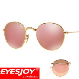 Wholesale Round Mirror Frames - 2017 hot Sunglasses brands pilot mirror Folding Round Bronze metal Frame Men Women Brand Designer sunglasses with Box