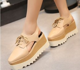 Wholesale Sandals 33 - Hot Stella Elyse Cutout Platform Oxford Platform Shoes Lace-Up Wedge Leather Wedge Heel Square Toe Women's Sandals Shoes 33-41 free shipping