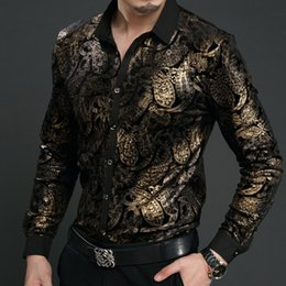 Wholesale Baroque Prints - Wholesale- New Spring Mens velvet Shirts Men Baroque Brand Luxury Heren Kleding Chemise Homme Leopard Print Marque Abbigliamento Uomo Size