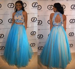 Wholesale Two Rings Balls - Two Pieces Prom Dresses 2017 New Arrival with Beaded High Neck and Keyhole Back Real Model Beading Tulle Ring Dance Dress Custom Made