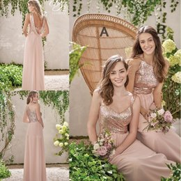 Wholesale Cheap Long Beach Summer Dresses - 2017 New Rose Gold Bridesmaid Dresses A Line Spaghetti Backless Sequins Chiffon Cheap Long Beach Wedding Gust Dress Maid of Honor Gowns