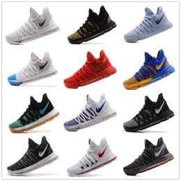 Wholesale Kd Red Shoes - Cheaper 2017 Kevin Durant 10 Basketball Shoes Men High Quality KD 10 Training Sneakers KD10 Athletic Shoes Size 7-12
