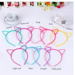 Wholesale Tiara Cat Ears - Wholesale- 10 Mixed Color Plastic Cat Ear Hair Tiara Princess Headband Hair band With Teeth
