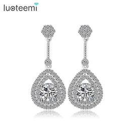 Wholesale Chandelier Teardrops - LUOTEEMI Classic Elegant Drop Earrings AAA Teardrop Shape Cubic Zirconia Stone Ladies Earrings for Wedding Factory Wholesale