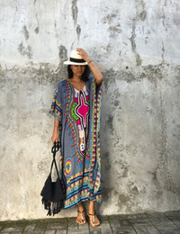 Wholesale Ethnic Clothing - 2017 Summer Traditional African Ethnic Clothing Women Africaine Print Dashiki Batwing sleeve Dress African Clothes indian bazin riche femme