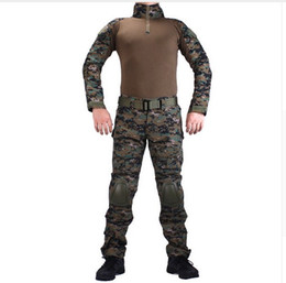 Wholesale Jungle Digital Camouflage - Camouflage BDU Jungle Digital Combat uniforms shirt with broek + elbow & knee pads militaire game cosplay uniform ghilliekostuum