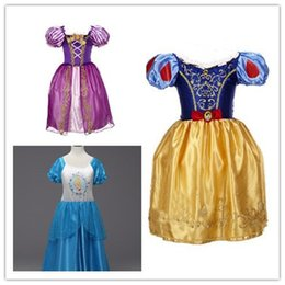 Wholesale Solid Light Blue Ball Gown - 3 styles Sleeping beauty princess Dress Frozen Dress for kids Cinderella Dress girl's Christmas Halloween Role-play Costume Snow White Ra