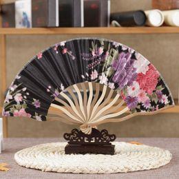 Wholesale Japanese Fan Flower - Free Shipping 10pc lot Tassel For Gift Dancing Wedding Party Decor Fan Chinese Japanese Flower Blossoms Folding Carved Hand Fan