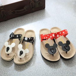 Wholesale Elastic Strap Gladiator - Hot selling Casual Women Sandals Cartoon Mickey Mouse Slippers Cork Flats Summer Shoes Women Flip Flops