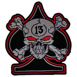 Fortunati motocicli online-Prezzo basso per Cool Custom Skull Spade Crossbone 13 Lucky Number Biker MC Back Patch Vest