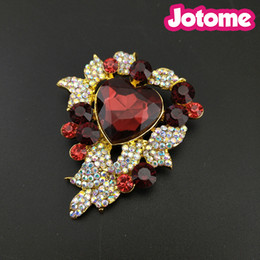 13pcs lot Gold Tone Flower Heart Leaft Brooches For Women Red Rhinestone  Crystal AB Fashion Jewelry Pin Brooch bf8f809bf437