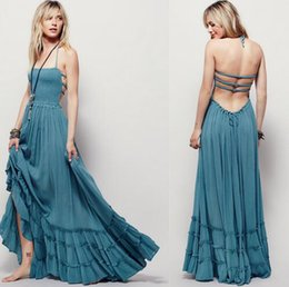 Wholesale Chic Long Dresses - 2016 Beach Dress Sexy Dresses Boho Bohemian People Holiday summer Long Backless cotton women party hippie chic vestidos mujer