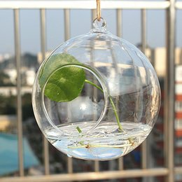 2019 vasi di testa all'ingrosso Fashion Hot Borosilicate Glass Hanging Vaso Vasi da tavolo Home Deco Trasparente Diametro 6 cm
