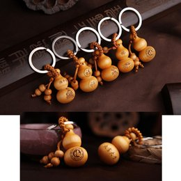 Wholesale Buddhist Hands - Peach Tree Wood Good Fortune Gourd Hand-polished Keychain Buddhist Geomantic Supplies Car Key Ring Bag Pendant Key Chain