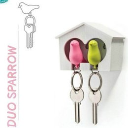 Wholesale Birdhouse Key - Lovers Sparrow Key Ring, Duo Sparrow Keychain, Couple Pair Birdhouse Whistle Key Holder, Brid Nest Wall Hook Keyring Hanger Rack
