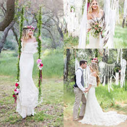 Wholesale Best Sell Wedding Dresses - 2017 Mermaid Bohemia Wedding Dresses Off Shoulder Full Lace Applique Wedding Gowns Sweep Train Half Sleeve Vintage Best Selling Bridal Dress