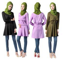 Wholesale Xl Muslim Woman Clothes - muslim polyester shirts women shirts eslamic clothes arabia clothing turkish shirts including belt D164