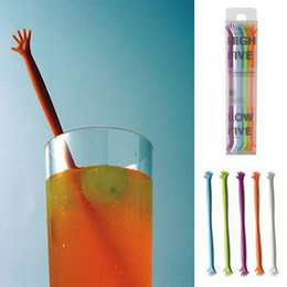 Wholesale Stir Bar Help - Wholesale- 5pcs Lot New Creative Mixed Color coffee stirrer HELP ME stirring rod juices spoon Kitchen Bar Cocktail Drink