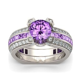 Wholesale Ring Amethyst 925 - Victoria Wieck 2017 New Wholesale Fashion Jewelry 925 Sterling Silver Birthstone Amethyst Round Cut Gemstones Wedding Women Ring Size 5-10