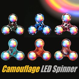 Wholesale Greens Powder Wholesale - Fidget Spinner Double-sided LED Hand Spinner EDC Gyro 2-3 Min High Speed With Powder Switch Anxiety Toy Pressure Reducer with Package