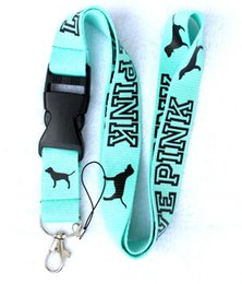 Wholesale Lanyard Men - Hot ! Hot ! 10Pcs Fashion Classic Clothing Logo Popular Design Keychain LANYARD Neck phone Strap Turquoise Black