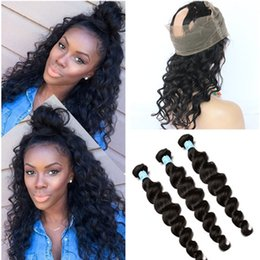 Wholesale Deep Wave Closure Bundles - Peruvian Loose Wave Human Hair Weaves With 360 Lace Frontal Pre Plucked Loose Deep Wave 360 band Lace Closure With 3 Bundles Extensions