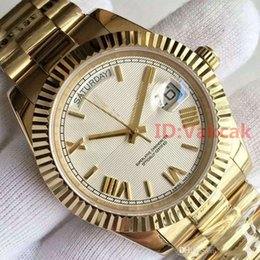 Wholesale 18 Gray - 2017 Top Luxury Brand 18 ct yellow gold DAY DATE 40mm Automatic self-winding Mechanical movement folding Crown clasp Mens watch Wristwatches
