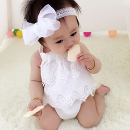 Wholesale Baby Christmas Lace Romper - Ins Baby girls clothing 2017 Romper layers lace Sleeveless Cute girls Jumpsuit White pink Navy Summer 0-18MONTHS