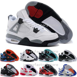 Wholesale Dan Black - (With Box) High Quality air retro 4 IV mans basketball shoes Bred Oreo Fire Red White Cement CAVS Military Blue Athletic dan 4s shoes 41-47