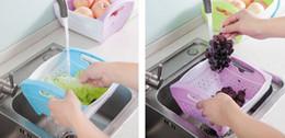 Wholesale Large Plastic Drains - 1 pc Plastic Kitchen Organizer Large Folding Fruit and Vegetables Storage Washing Draining Basket Eco Friendly Kitchen Accessories