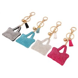 Wholesale Cute Lock Key - fashion cute small bag imitation diamond key chain candy colors tassel penden vintage girl bag pendant creative key chains for women jewelry