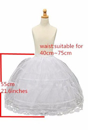 Wholesale hoops crinoline - Flower Girl Kids Petticoat Children Crinoline Undersakirt Slip for Little Girl 55cm Long 2-Hoops High Quality Fast Shipping