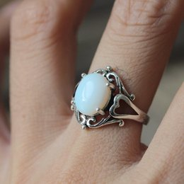 Wholesale Silver Rings Genuine Stones - Round Purple Genuine opal ring,nature stone Agate ring,Lapis lazuli ring,Celtic Knot Triquetra ring,Endless Eye Ring