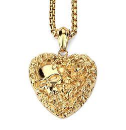 Подвеска из черепа онлайн-Титан стальные кости скелет человек голова ожерелье pTitanium стали бутик цветы любовь образный череп ожерелье кулон ожерелье necklaceendant