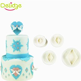 Wholesale Diamond Mould - Delidge 3-4 Pcs Set Geometry Shape Cookie Mold Square Diamond Oval Shape Fondant Cake Decorating Mould Plunger Cutter Mold