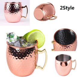Wholesale Antique Cup Plate - Moscow Mule Cup Hammered Copper plated Stainless Steel Moscow Mule Mug Drum-Type Beer Cup Coffe Cup Water Glass Drinkware c053