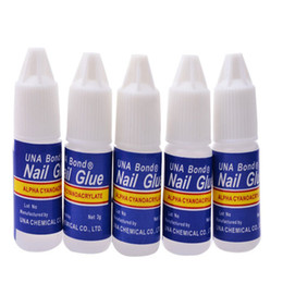 Wholesale Nail Art Adhesive Glue - Wholesale- 5Pcs 3g Nail Glue Glitters DIY Nail Art Deco Acrylic Tips Adhesive Tool