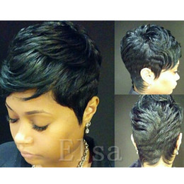 Pelucas de mejor calidad barata online-Pelucas brasileñas del pelo humano pelucas del cordón del frente barato sin encaje pelucas llenas del cordón La mejor calidad pelucas muy cortas del pelo para las mujeres negras