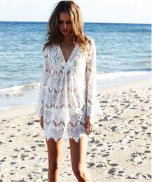 Wholesale Midi Skirt Lace - Lace Crochet Long Hollow Beach Beach Skirt V-Neck White Blouse Tassel Summer Dress New Style Dress For Women