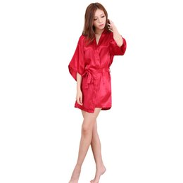 Wholesale Long Red Lingerie - Wholesale- Plus Size S-XXL 2016 Rayon Longue Bathrobe Womens Kimono Satin Long Robe Sexy Lingerie Hot Nightgown Sleepwear with Belt